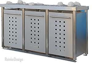 Mülltonnenbox aus Edelstahl mit Pflanzenwanne 2x120 und 1x240l