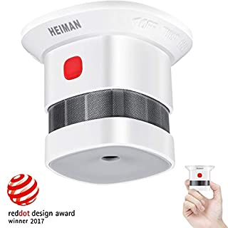 HEIMAN Mini Smoke Alarm Detector, 10-Year Battery Life(Battery Included), Reddot Award, CE Certified, Independent Photoelectric Fire Detector with 3M Adhesive Tape