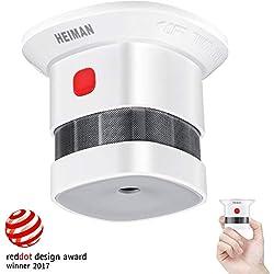 Mini Detector de Alarma de Humo HEIMAN, Batería de por Vida con batería de 10 años, Premio Reddot, Certificado CE, Detector de Incendios fotoeléctrico Independiente para el hogar