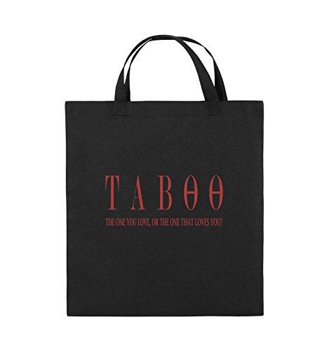 Comedy Bags - TABOO - LOGO2 - Jutebeutel - kurze Henkel - 38x42cm - Farbe: Schwarz / Silber Schwarz / Rot
