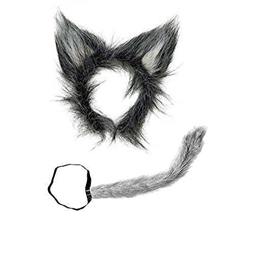 Undercover Fashion Wolf Wolfsset Wolfsohren mit Wolfsschwanz aus Plüsch Wolfset Tierkostüm ()