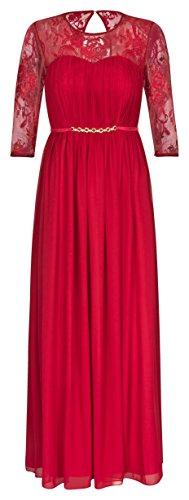 Lautinel Abendkleid Ballkleid Festkleid Hochzeitskleid Langarm Chiffon 995 (34, Rot)