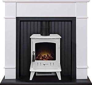 Adam Oxford Stove Suite in Pure White with Aviemore Electric Stove in Pure White, 48 Inch