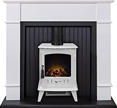 Adam Oxford Stove Suite in Pure White with Aviemore Electric Stove in Pure White, 48 Inch