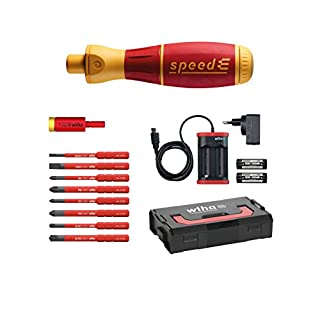 Wiha E-Schraubendreher Set 2 speedE® electric, 13-tlg: in L-Boxx Mini mit 8x slimBits, 1x easyTorque Adapter, 2x Batterien und Ladegerät EU
