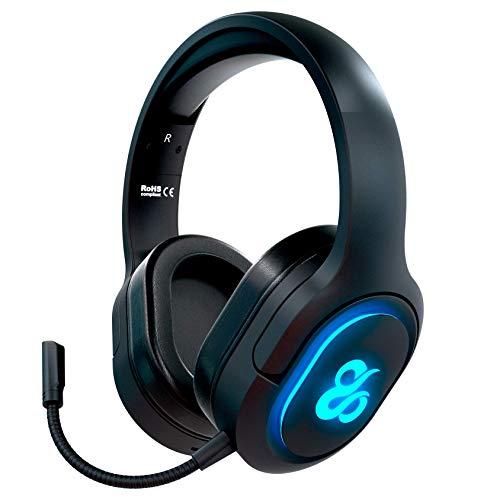 Newskill Scylla - Auriculares Gaming Inalámbricos con Micrófono Totalmente Removible compatibles con PC, PS4, Xbox One, Nintendo Switch y Smartphone (Efectos de iluminación RGB)