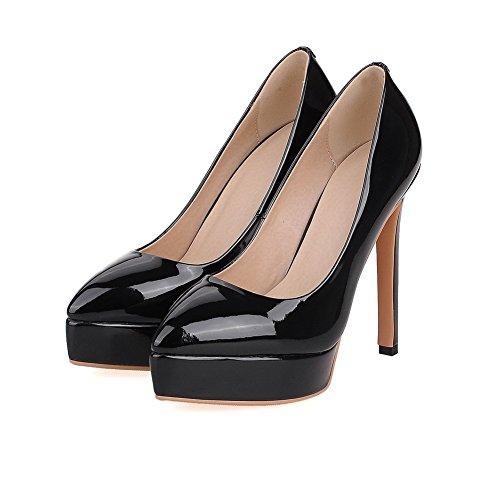 AllhqFashion Femme Pointu Tire Pu Cuir Couleur Unie à Talon Haut Chaussures Légeres Noir