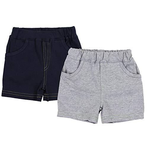 TupTam Jungen Kurze Hose Bermuda 2er Pack, Farbe: Dunkelblau/Grau, Größe: 92 cm Jungen Shorts Set