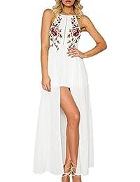 BoBoLily Donna Vestiti Lunghi Eleganti da Cerimonia Estivi Backless Vestito  da Sera Tute Ricamo Fiori con 1fda2e0aa585