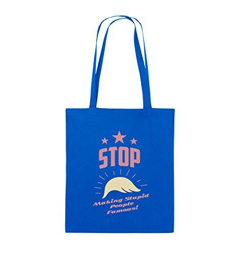 Comedy Bags - Stop making stupid people famous - Jutebeutel - lange Henkel - 38x42cm - Farbe: Schwarz / Weiss-Neongrün Royalblau / Rosa-Beige