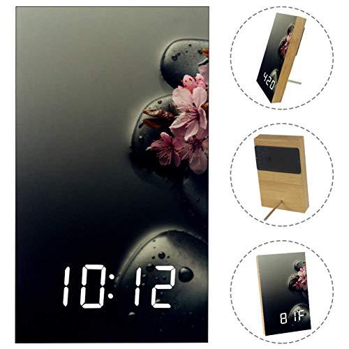 Nananma Home Digital Alarm Clock Spa Decor Print,USB Charging Port, Sleep Timer,Snooze Battery Backup Bedrooms with LED White Display