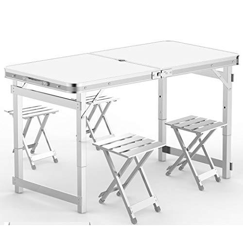 Leqi Klapptisch Outdoor Tragbarer Tisch Und Stuhl Kombination Set Einfache Aluminium Klappstuhl Hocker Wild Barbecue Stall Tisch Nussbaum Mit Regenschirm Loch Mit 4 Aluminium Hocker (Color : White) -