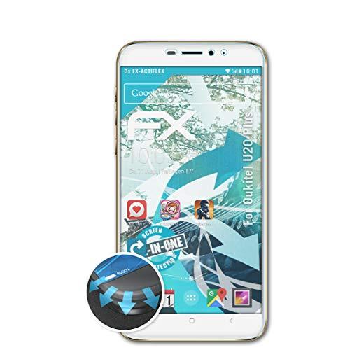 atFolix Schutzfolie passend für Oukitel U20 Plus Folie, ultraklare & Flexible FX Bildschirmschutzfolie (3X)