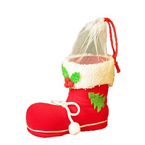 MLL Erste Weihnachtsschmuck Weihnachten Candy Boots Weihnachtsbaum Anhänger Weihnachten Socken Geschenkbeutel Kind Candy Bag,rot,A