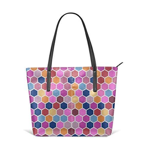 Women's Soft Leather Tote Shoulder Bag Geometric Hexie Hexagon Candy Pink Orange Red Blue Spots Dots Fashion Handbags Satchel Purse