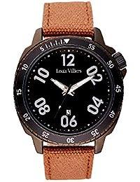 Louis Villiers Reloj Analógico para Unisex Adultos de Cuarzo con Correa en Cuero LV1049