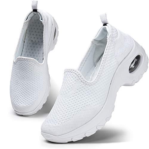 Donna scarpe da ginnastica corsa sportive fitness running sneakers interior casual all'aperto scarpe bianco 42 eu