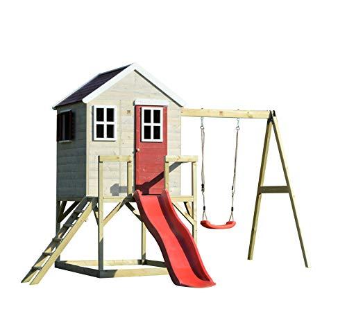Wendi Toys M24 Nordic Lodge House | Kinder Holzspielhaus Spielhaus auf 90 cm hohe, Plattform, mit 175 cm Langen Rutsche, 200 cm hohe einzelne Schaukel, Volltür, Perspex Fenster, Boden, Fensterläden - Spielhaus Mit Schaukel Kinder