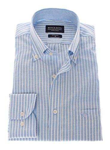 166106 - Bots & Bots Exclusive Collection - 55% Lin / 45% Coton - Button Down - Normal Fit Bleu Clair