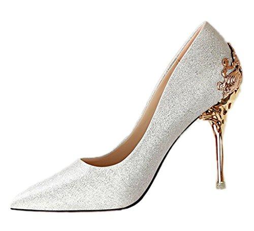Silber Sexy Schuhe (Minetom Damen Elegant Schuhen Mit Hohen Absätzen Sexy Spitze Schuhe Hochzeit Abend Parteischuhe Silber)