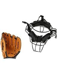 """MagiDeal Baseball Protecteur Masque De Protection Visage + Gant De Baseball 10,5"""""""