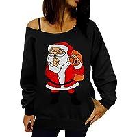 Camiseta de Mujer Navidad Otoño Invierno Rebajas,EUZeo,Papá Noel Imprimir Camiseta Fiesta Fuera del Hombro Sweatshirt Informal Moda Básica Pullover Casual Cuello Oblicuo Blusas Christmas