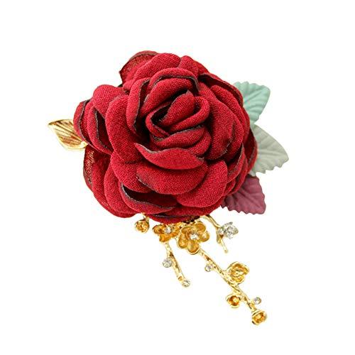 Wisilan Boutonniere Blumen-Anstecknadel, Kunstblume, einzelne Rose, Diamant-Hochzeit, für Braut und Bräutigam, Trauzeugen, Brautjungfer, Rot, 11 cm - Stilvolle Mutter Der Braut