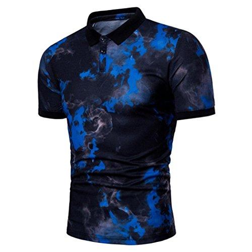 MRULIC Mode Herren Sommer Casual Revers Druckknopf Down Pullover T-Shirt Top(Blau,EU-52/CN-3XL) (Überprüfen Sie Wolle Seide Schal)