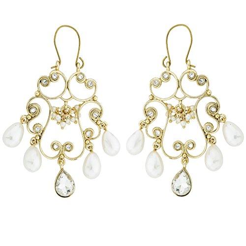 Die jewelboc filigranen viktorianischen Pearl American Diamant Gold vergoldet Kronleuchter Lange Ohrring für Frauen