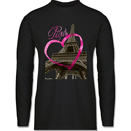 Shirtracer Städte - I Love Paris - Herren Langarmshirt Schwarz