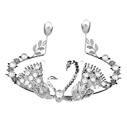 bismarckbeer Fausses Perles Swan Couronne Décoration pour gâteau de Mariage fête d'anniversaire gâteau Décorations, Silver, Taille Unique