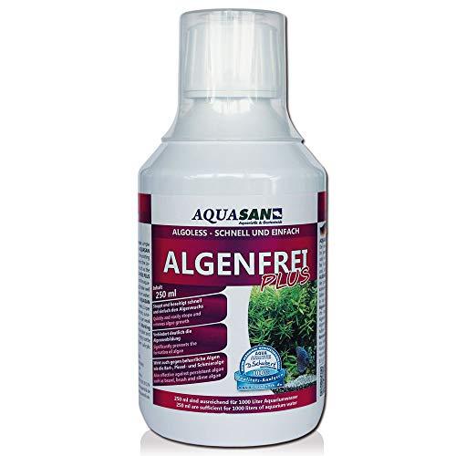 AQUASAN ALGOLESS Algenfrei Plus (GRATIS Lieferung in DE - Aquarium Algenvernichter, Algenentferner - Gegen nahezu alle Algen - Bartalgen, Pinselalgen, Schmieralgen), Inhalt:250 ml