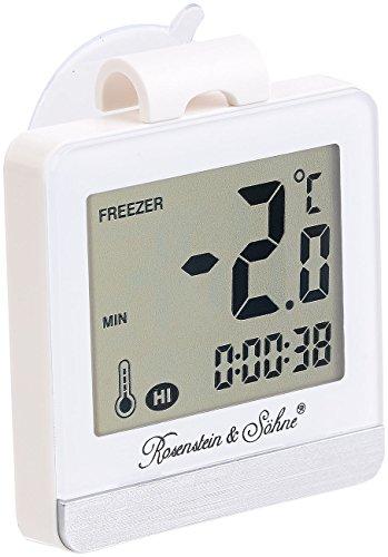 Rosenstein & Söhne Kühlraum-Thermometer: Digitales Gefrier- & Kühlschrankthermometer mit Temperatur-Timer (Eisschrank-Thermometer) Fach Für Gefriertruhe