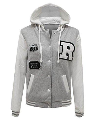 Fashion 4Less Nuovo Donna R Fox 61Baseball College giacca con cappuccio. Regno Unito 8-14 Grey 44-46