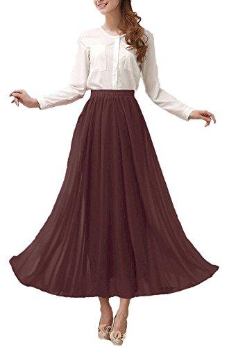 Afibi Damen Chiffon Retro Langer Maxi-Rock Weinlese-Kleid (L, Braun)
