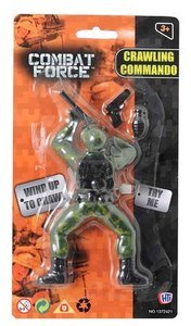 Image of NEW COMBAT FORCE WIND UP CRAWLING ARMY COMMANDO SOLDIER MAN ACTION FIGURE TOY