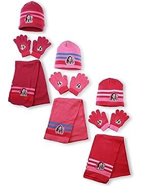 Disney - Set de bufanda, gorro y guantes - para niña morado Coloris Mauve foncé bande fushia