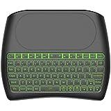 Teclado inalámbrico con Almohadilla táctil, 2.4GHz Mini Teclado Recargable Multimedia portátil de Mano para Android TV Box, HTPC, Smart TV, computadora portátil/PC(RGB retroiluminado)