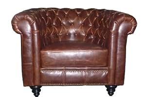 AC Design Furniture 46720 Chesterfieldsessel Henning, circa 99 x 78 x 59 cm, Bezug Bycast-Leder braun