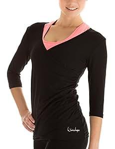 Winshape Women's 3/4 Arm Shirt Wrap Look for Fitness Yoga Pilates Leisure Black black