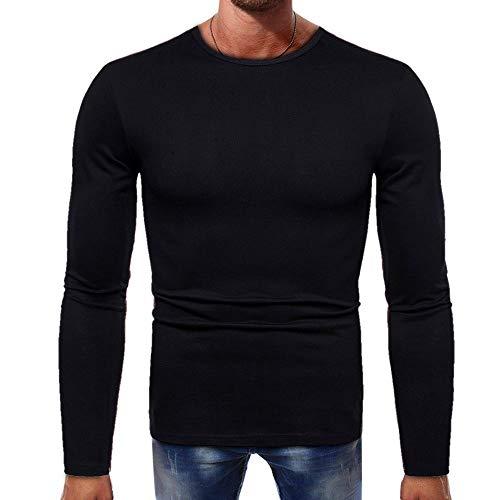 Aoogo Männer Rundhalsausschnitt T-Shirt Einfarbig Pullover Rundhals Sweatshirt Herbst Winter Casual Strickpullover Schlank Slim Fit Langarmshirt