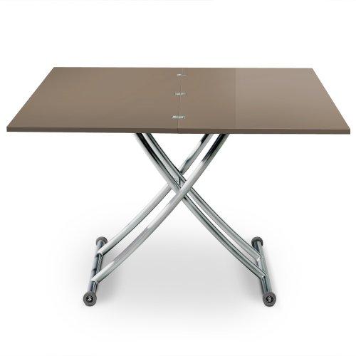 Menzzo B2219S Contemporain Carrera Table Basse Relevable Bois/Inox Laqué Taupe 57/100 x 100/114,2 x 39/76,3 cm
