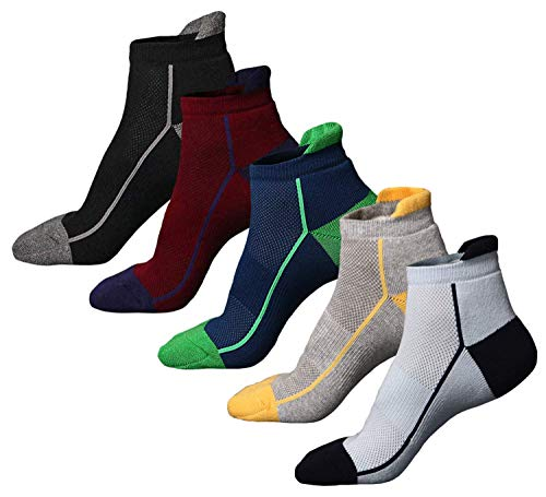 Fußkettchen Herren-socken (MyStylesHome 5 Paar Herren-Fußkettchen Socken ohne Blasenbildung, Frottee, gepolstert, atmungsaktiv, feuchtigkeitsableitend, Sportsocken für Wandern, Laufen, Radfahren - mehrfarbig - Large)
