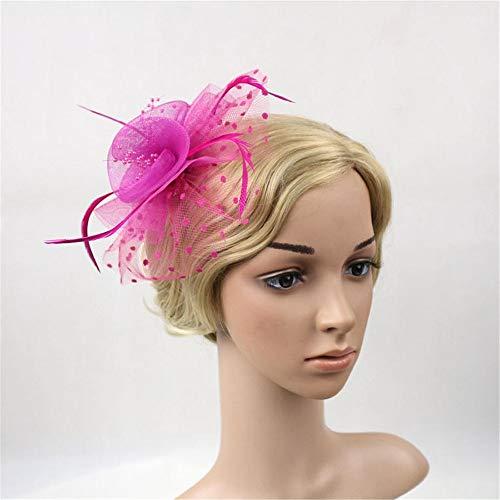 Dhrfyktu Vintage Headwear Spitze Hut Temperament Hut Prinzessin Blumenmädchen Kleid Zubehör Kopfschmuck Haarschmuck (Farbe : Rose rot)