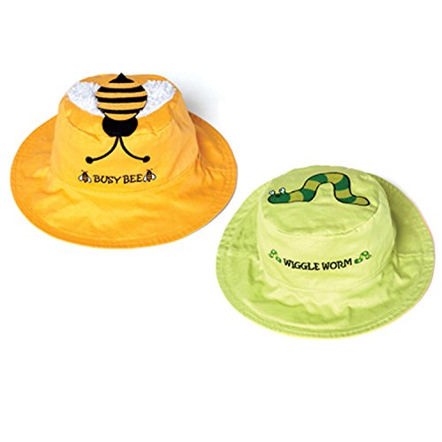 Luvali Kinder Hut UV Wende Sonnenhut Biene-Wurm, Green/Yellow, S, KD-S2-BW/6M-4Y Kd 4 Kinder