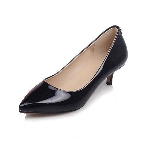 AgooLar Femme Verni Tire Pointu à Talon Correct Mosaïque Chaussures Légeres Noir