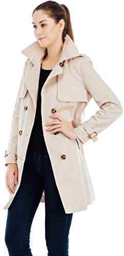 Valuker Damen Trenchcoat Lang Mantel mit Gürtel Übergangs Jacke Beige DE:38 / US:S