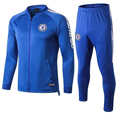 BoFlision Sportswear Club Langarm Fußball Uniform Anzug Team Wettkampftraining Anzug Jacke und Hosenanzug Full Zipper (Blau), A, S