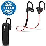 Captcha Bluetooth Earphones With Earhooks & Bluetooth Headset With Mic For Android/iOS Devices (Color May Vary)