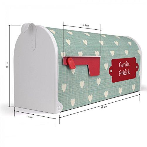 BANJADO US Mailbox | Amerikanischer Briefkasten 51x22x17cm | Letterbox Stahl weiß | mit Motiv WT Muster Herzen, Briefkasten:ohne Standfuß - 2